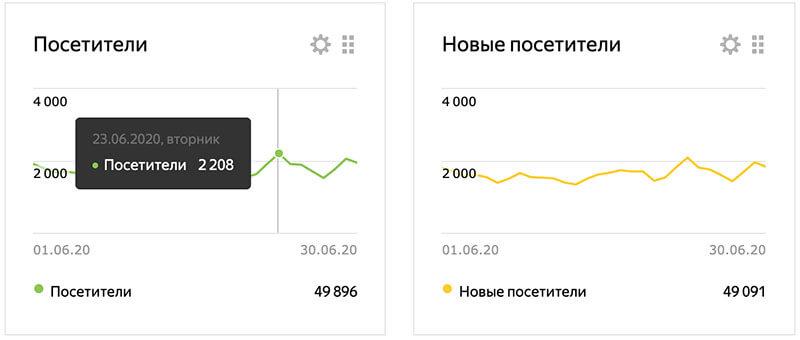 Посещаемость сайта июнь Яндекс