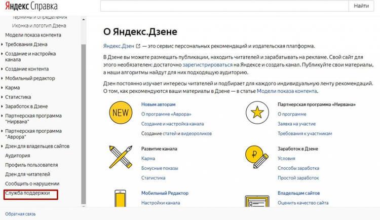Справка по Яндекс.Дзен